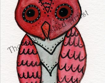 ACEO Original Watercolor Painting ~ Owl | Zendoodle Art