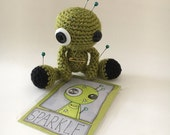 Sparkle the Amigurumi Green Sparkly Voodoo Doll