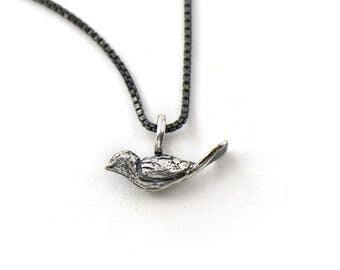 Handmade Sterling Silver Tiny Bird Charm