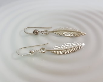 Silver feather earrings, native american tribal feather earrings, Boho dangle earrings