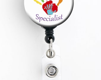 Retractable Badge Reel - Child Life Specialist - Badge Holder with Swivel Clip