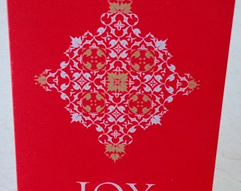 Letterpress JOY holiday cards, set of 4