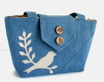 Denim Wayfarer Purse - Bird on a Branch Applique - Shoulder Bag - Vegan