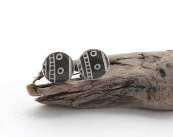 Paper and Resin Studs, Black & White Simple Circle Stud Earrings, Everyday Earrings, Unisex Studs for Men or Women, For Sensitive Ears