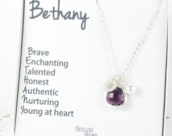 Personalized Birthstone Silver Necklace with Custom Name Jewelry Card, Birthstone Jewelry, Bridesmaid Gift, Personalized Silver Necklace