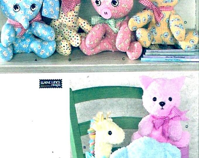 Elephant Pig Cat Giraffe stuffed animal toy Stuffie sewing pattern Eleine Heigl Simplicity 2613 Uncut