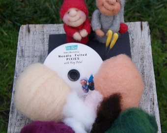 Beginner Needle Felting Kit with Video Tutorial - FELT ALIVE PIXIES - Learn How to Needle Felt - kit with wool, felting needles and foam pad