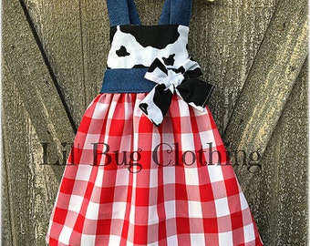 Country Gingham Dress, Country Cow Print Dress, Western Wear Cow Girl Dress, Western Birthday Party Dress, Western Wear Pageant Dress