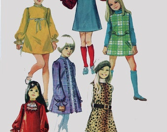 1960s MOD Girls Dress or Jumper and Scarf ~ Six Versions Simplicity 8373 Vintage 60s Sewing pattern Size 4