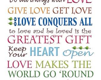 """Words of LOVE Art Panel - 6"""" x 12"""""""