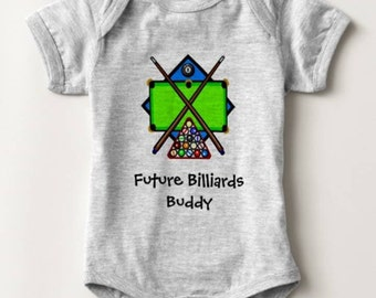 Future Billiards Buddy Pool Baby Bodysuit Newborn Infant Boy Girl Shower Gift