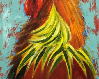 Rooster 860 12x24 inch animal portrait original oil painting by Roz