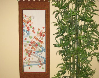 Quilted Wall Hanging Maple Leaves, Dragonflies and Stream Design Japanese Asian Design Tenugui Scroll Size