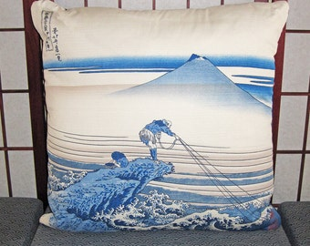 Hokusai Fisherman and Mount Fuji Design Zippered Japanese Furoshiki Pillow Cover