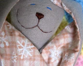 Snowflake Grey Fleece Plush Snuggle Bunny RTS Ready to Ship