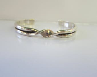 """Sterling Silver Twisted Cuff Bracelet - Size 5 to 6""""    1542D"""