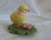 Needle Felted Chick,Felted Chick,Easter,Spring,Equinox,Baby Chicks, Farm Animals,Miniatures,Nature Table,Home Decor,Peeps,Easter Decor,Pink
