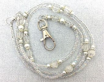 Beaded Lanyard - White Pearls, Clear Crackle Glass, Crystal Rondelles, Silver