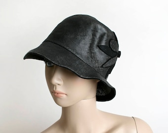 Vintage 1920s Cloche - 20s Floral Woven Straw Hat - Black Felt Flowers - Art Deco Flapper