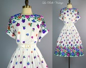 Vintage Pansy Floral Border Print Dress M L ~ Full Skirt