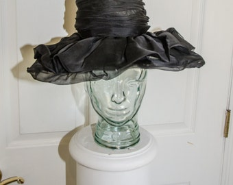 Vintage 1960's Black Layered Satin and Mesh Woman's Floppy Brimmed Hat