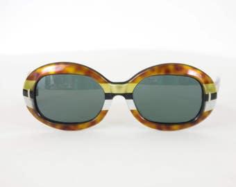 1960's France Vintage Mod Space Age Metallic Striped Tigers Eye Oval Plastic Frames Sunglasses