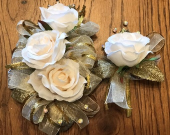 Ivory Gold Blush Corsage Set (Artificial Flowers)