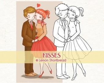 Digital Stamp Kisses Kissing Couple, Digi Download, Love Valentine's Day, Romantic Clip Art, Coloring Page, Scrapbooking Supplies