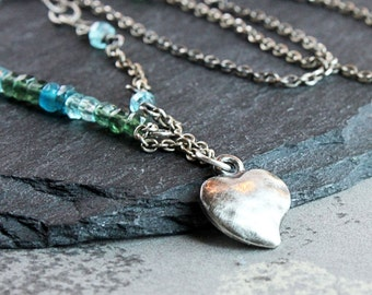 Blue Apatite Necklace  Oxidized Silver Gemstone Jewelry Handmade  Jewellery Heart Charm Unique Romantic Gift