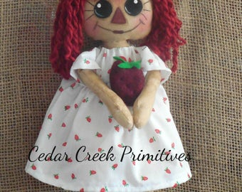 "Primitive /Folk Art Raggedy Anne with Strawberry ""Berry Anne"""