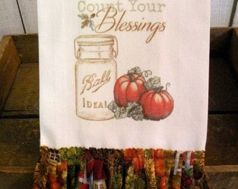 Autumn Fall Kitchen dish towel Rustic Farmhouse cotton Count your blessings  Tattered ruffles ECS RDT FVGTEAM