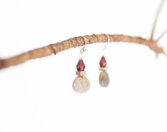 Fish Hook Earrings Dangle Earrings Sterling Silver Earring Boho Earrings Drop Earring Semiprecious Best Friend Gift for Her Gift for Wife