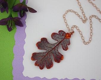 Copper Oak Leaf Necklace, Real Copper Leaf, Real Lacey Oak Leaf Necklace, Lacey Oak Leaf, Rose Gold Filled, LC182