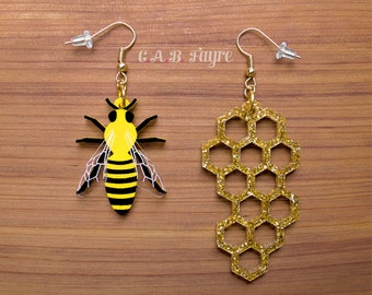 The Bee's Knees - Bee & Honeycomb Earrings - Laser Cut Earrings (C.A.B. Fayre Original Design)