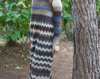 PDF knitting pattern, knitted dress, dress,womens knitted dress,knitted dress pattern,chevrons,stripes,long dress knitted,empire waist dress