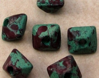Greek Ceramic Oxyhedron Beads, 12 mm, Mellow Speckle, 6 Pieces M379