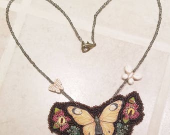 Beaded Butterfly Pendant