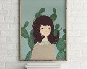 Cactus - Portrait - Holli - Nursery Wall Art - Nursery Decor - Childrens Art - Kids Wall Art - Nursery Art