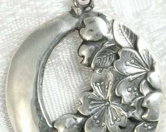 Crescent Moon with Cherry Blossoms Sterling Silver Pendant Charm