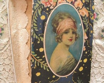 Antique Candy Box with Beautiful Woman on the Lid Douglas Chocolates Flapper Portrait