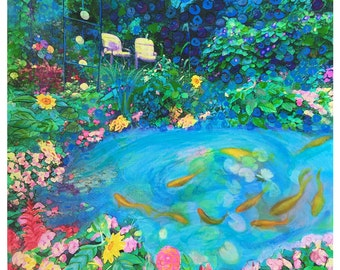 The summer garden, 16x20 inches,mixed media photograph #Art #Wall art #original art #Flowers #Colorful art #Cheerful art #Fish ponds #Koi