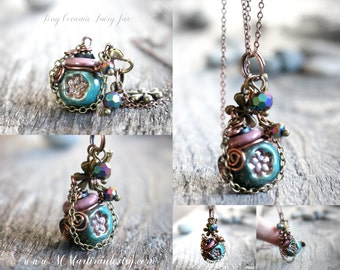 Aromatherapy Necklace Perfume Bottle Flower Charm Miniature Bottle Necklace Eco Friendly Hemp and Ceramic Essential Oil Diffuser Pendant
