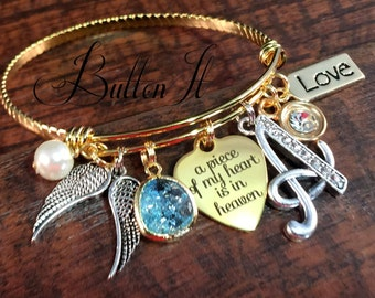 SYMPATHY gift, GOLD bangle, angel wings, a piece of my heart is in heaven, Memorial, Remembrance jewelry, mixed metals, Grief & mourning