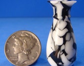 "1:12 - 1"" Scale Black & White Dalamation Acrylic Acetate Vase - IGMA Fellow Helmer Lathe Turned Dollhouse Miniature"