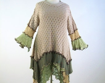SALE: 3X Reconstructed Dress/Upcycled Bohemian Tunic/Ecru and Sage/ Spring/Summer/Open Knit and Crochet/by BrendaAbdullah
