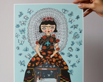 Frida with butterflies - Frida Kahlo - illustration - print - 10.6 x 13.8 inches - Fabriano paper