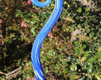 Sky Blue Glass Fiddlehead Garden Art Sculpture Outdoor Decoration
