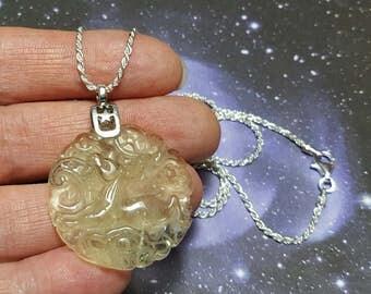 Sale Libyan Desert Glass Capricorn Goat Carving Tektite Meteorite Impact Glass Pendant On Long 24 Inch Sterling Silver Chain Necklace RARE
