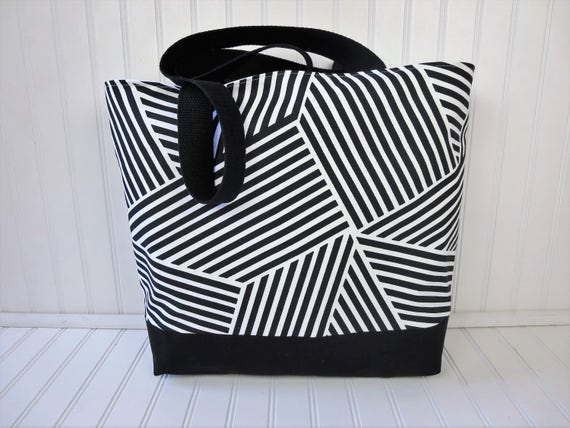 Black & White Beach Bag Large Beach Tote Waterproof Beach