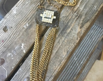 Chain Reaction Vintage Rhinestone Metal Chain Repurposed Necklace Gold